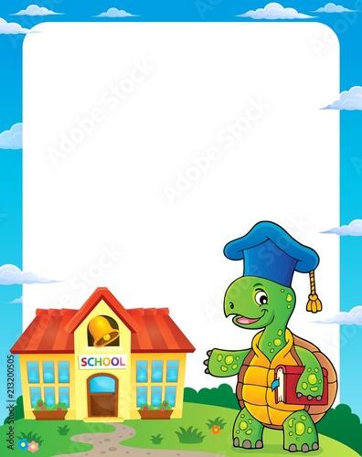 Fotobehang Voor kinderen Turtle teacher theme frame 1