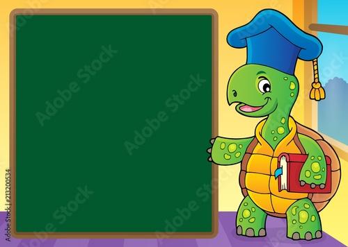 Fotobehang Voor kinderen Turtle teacher theme image 5