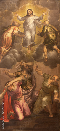 Foto Spatwand Jezus Christus MODENA, ITALY - APRIL 14, 2018: The painting of Transfiguration in church Chiesa di San Pietro by Giovani Battista Ingoni (1560).