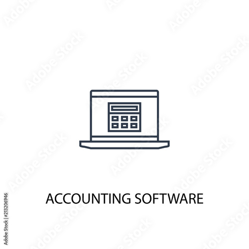 Accounting Software Concept Line Icon Simple Element Illustration