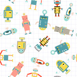 Funny robots seamless pattern. Vector hand drawn illustration. - 213211568