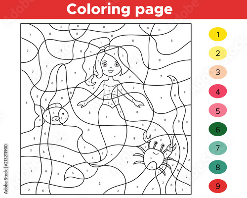 Color by numbers. Cartoon mermaid with fish and crab. Underwater theme. Activity page for kids. Educational game. Vector illustration