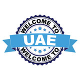 Welcome to United Arab Emirates blue black rubber stamp illustration vector on white background