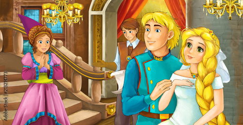 cartoon scene with married couple - king and queen - illustration for children - 213214773