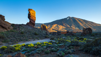 View of unique Roques de Garcia unique rock formation with famous Pico del Teide mountain volcano summit in the background on a sunny morning. Teide National Park, Tenerife, Canary Islands, Spain. © cegli