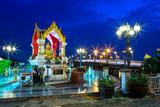 Thao Maha Brahma or Erawan Shrine of the lights at the bridge (Eka Thot Sa Root Bridge) in Phitsanulok, Thailand. June 28, 2018