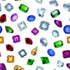 Illustration background seamless shiny gems of different cuts