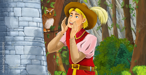 Cartoon scene of a nobleman shouting standing near rocky wall - illustration for children - 213220928