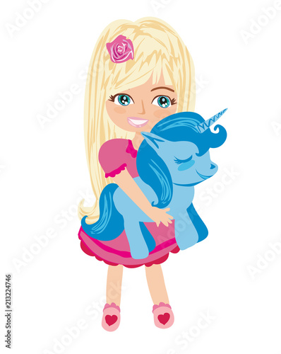 cute unicorn and sweet girl - 213224746