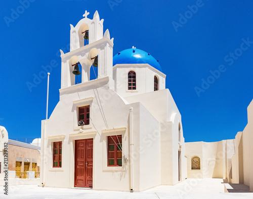 Fotobehang Santorini White Church in Imerofigli Santorini Greece under a deep blue sky
