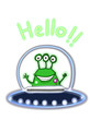 cartoon alien in the ufo and say hello illustration
