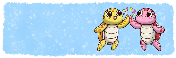 High five turtles - banner size with underwater watercolor background © Guilherme Yukio