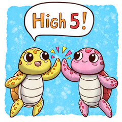 High five turtles – square size with speech bubble and watercolor background © Guilherme Yukio