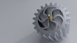 Gear on the bright flat background. Simple mechanical themed 3d illustration.