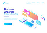Computer Isometric Flat vector. Business Finance Analytics - 213244956