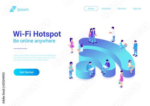 Bezprzewodowa izometryczny płaski ilustracja WiFi. Ludzie używający Wi-fi
