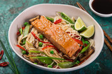 salmon with noodles and vegetables - 213247156