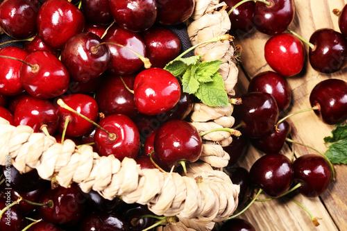Fotobehang Kersen Cherry.A bunch of red fresh cherries on the table.