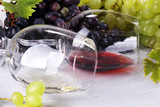 Red Wine and white wine with grapes and glasses on rustic background. - 213261711
