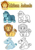 cartoon african animals, set of funny images  - 213269941