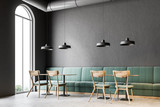 Dark gray wall bar corner, green sofas - 213275753