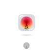 Radio tower, UI icon. Wireless technology, Internet emblem. Rounded square with tower, signals on a white background. Web icon. Contour option.
