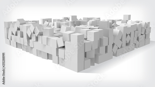 pile of cubes, 3d style vector illustration