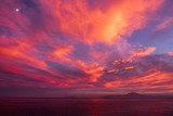 Amazing red sunset over oceab  - 213291135
