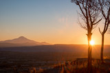 Sunrise in Cappadocia. View from Uchisar castle to Erciyes Volcano - 213291363