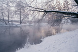 Winter landscape with river and frozen trees - 213291382