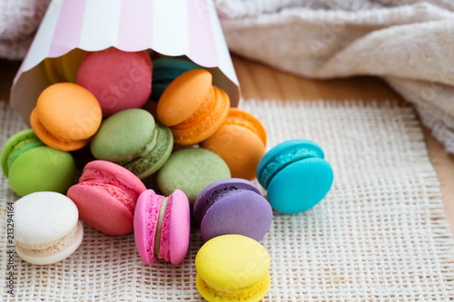 Canvas Macarons Various flavoured Macarons or Macaroon.