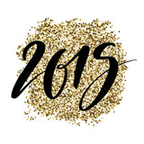 2019 numbers on shiny glitter golden background. Hand drawn creative calligraphy and brush pen lettering, design for holiday greeting cards and invitations. - 213297332