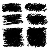 Vector set of hand drawn brush strokes and stains. One color monochrome artistic hand drawn backgrounds. - 213297364