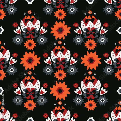 Bohemian Black Red Floral, Seamless Vector Pattern, Hand Drawn Folk Style Flower Illustration for Trendy Fashion Prints, Wallpaper, Stationery, Elegant Home Decor, Gift Wrap & 70's Retro Backgrounds