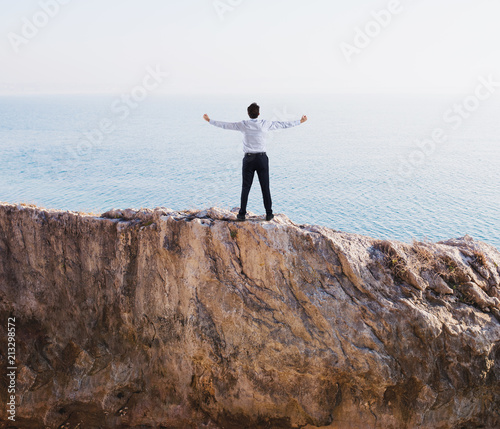 Freedom successful businessman over a high mountain - 213298572