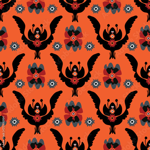 Boho Black Red Floral, Seamless Vector Pattern, Hand Drawn Folk Style Flower Illustration for Trendy Fashion Prints, Wallpaper, Stationery, Elegant Home Decor, Gift Wrap & 70s Orange Retro Backgrounds