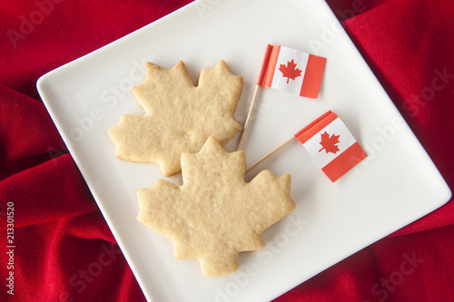 Foto Spatwand Canada Maple Leaf Cookies with Canadian Flags