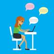 Cartoon beauty girl communicates via laptop,work at a computer