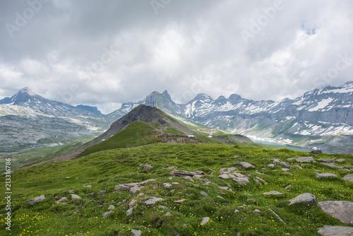 mountain landscape in switzerland alps, canton schwyz, muotathal, Glattalp