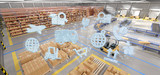 Logistic organisation on a warehouse background 3d rendering - 213322323