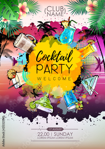Summer Cocktail party poster design. Cocktail menu - 213325381
