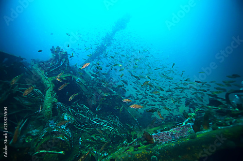 Aluminium Schipbreuk shipwreck, diving on a sunken ship, underwater landscape