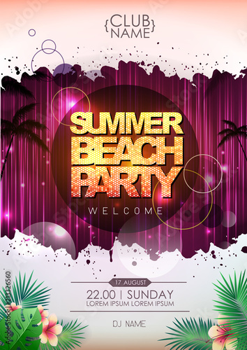 Fototapeta Summer party poster design. Summer beach party