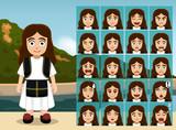 Albanian Folk Girl Cartoon Emotion faces Vector Illustration - 213328115