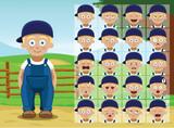 Farm Little Boy Cartoon Emotion faces Vector Illustration - 213329552