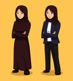 Manga Muslim Woman Cartoon Vector Illustration - 213330391