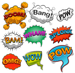 Comic speech bubbles. Sound effects. Illustration