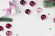 Leinwandbild Motiv Christmas flat lay scene with glass balls