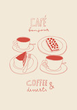 Coffee and cakes doodle contour illustration. Cafe hand drawn vector line art  - 213345323