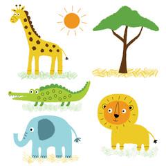 African animals, cartoon illustrations set © lattesmile